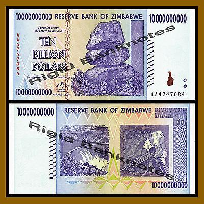 P-85 2008 World Currency ZIMBABWE 10 Billion Dollars 100 Trillion Series