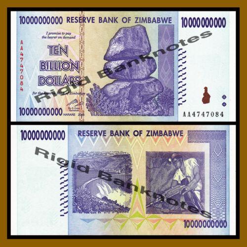 Zimbabwe 10 Billion Dollars 2008 AA//AB P-85 Unc 100 Trillion Series