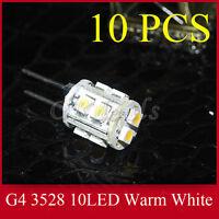 10pcs Warm White G4 10 SMD LED Light RV Marine Boat Camper DC 12V 2W Bulb Lamp