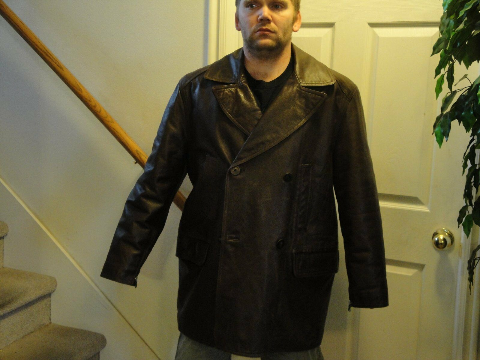 Andrew Marc Braun American Clasic Lined Over the Hip Leder Coat Größe XLT