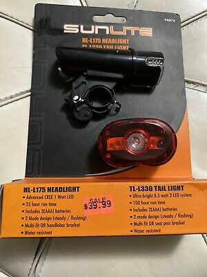 SUNLITE  HL-L175//TL-L330 FRONT AND REAR BICYCLE LIGHTS