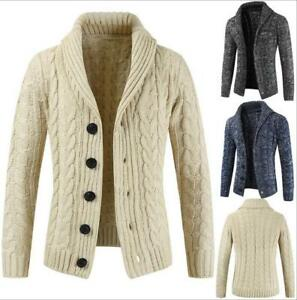 Mens-Autumn-Spring-Knitted-sweater-Cardigan-Jumper-Casual-Slim-Sweater-Knitwear