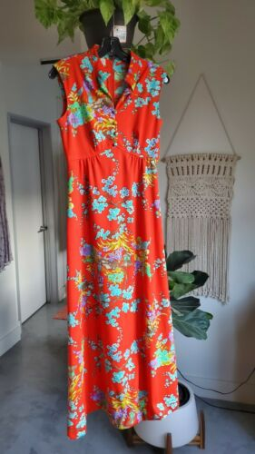 Vintage 70s psychedelic long dress Small