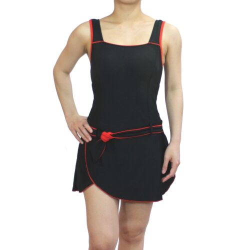 Women One Piece Swimsuit Ladies Skirted Swimwear Bathing Suit Swimdress Black
