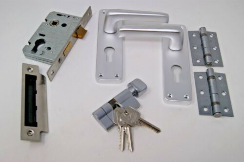 Euro Cylinder//Turn -Satin Aluminium Backplate C//w Hinges Contract Lever Handle