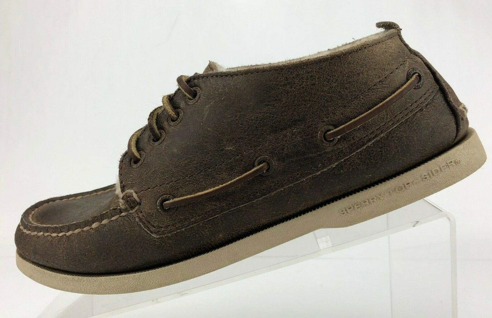 Sperry Top Sider Boat shoes Brown Leather Wool Lining Flat Moc Toe Mens Size 8 M