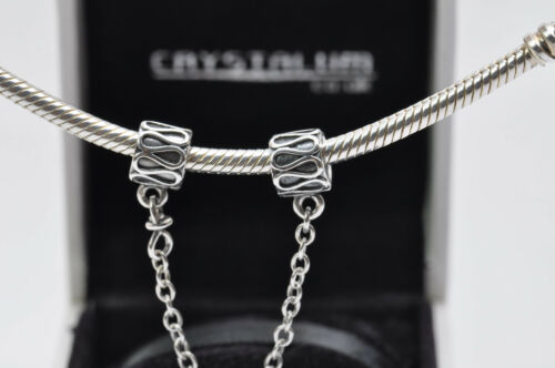Genuine Sterling Silver 925 Safety Chain Stopper Charm Bracelet Bead NEW BOX