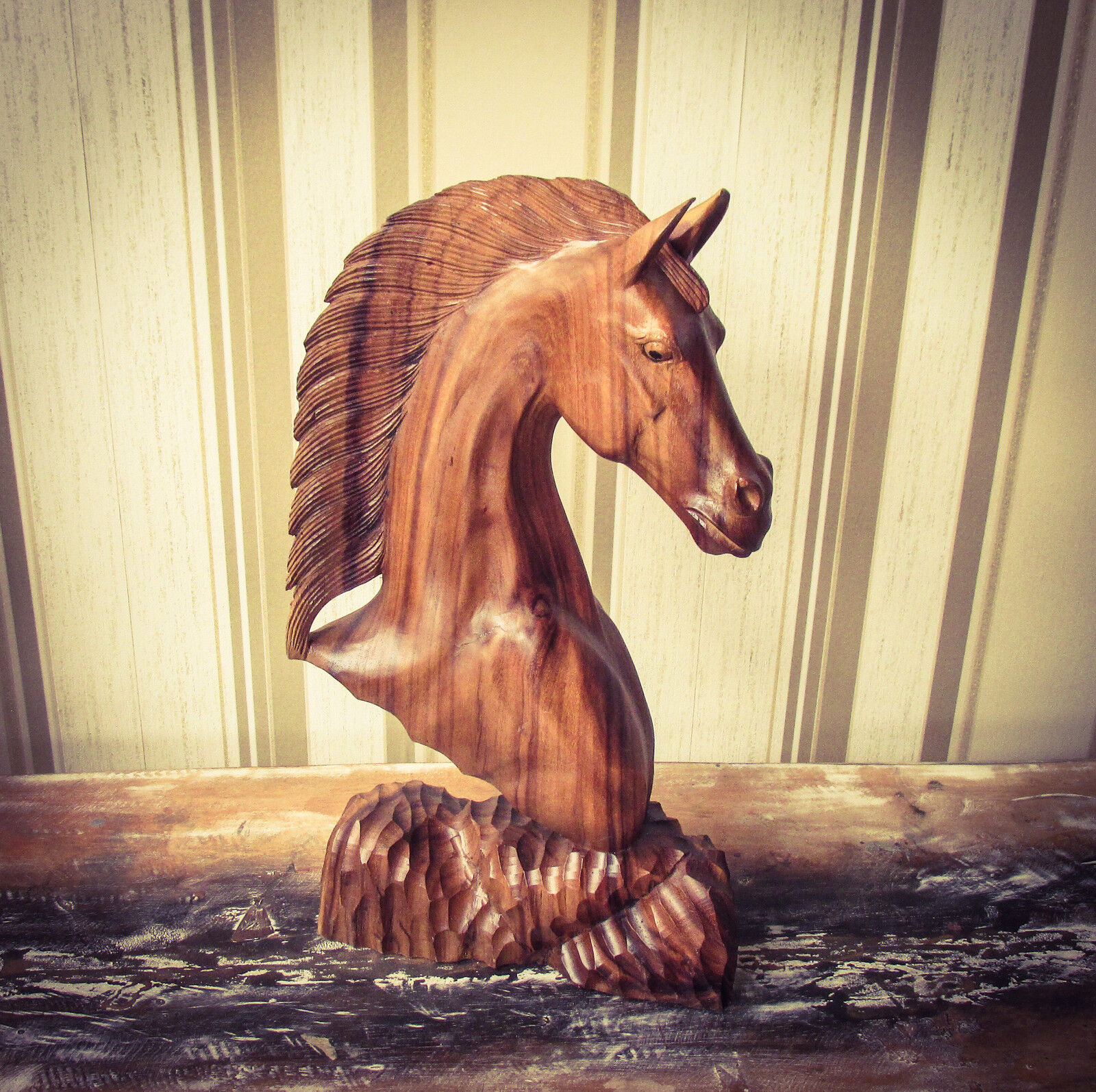 Hand Carved Wooden Horses Head 50cm
