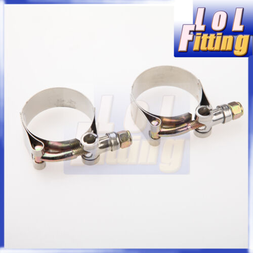 """2PCS 3.75/"""" inch Turbo Pipe Hose Coupler T-bolt Clamp Stainless Steel 98//106mm"""