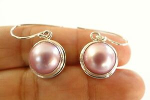 Mabe-Pink-Pearl-Solitaire-925-Sterling-Silver-Dangle-Drop-Earrings