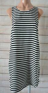 H-amp-M-Shift-Dress-Black-White-Striped-Sleeveless-Size-Us-8-Medium