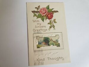 Greeting-Postcard-Vintage-Kind-Thoughts-Rose