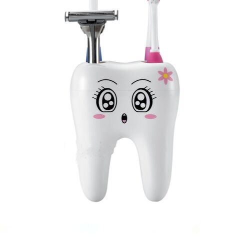 Salle de Bain Home Blanc 4 Trous dent Style Brosse à Dents Support Support Récipient S