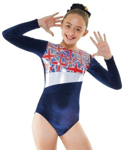 Navy Velvet Union Jack GB Girls Gymnastics Leotard Gym Dancewear Age 4-12 Gym 26