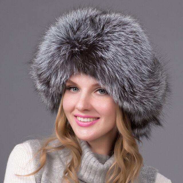 89ea20b7d46fc Women Silver Real Fox Fur Hat Russian Winter Warmer Ear Cap Ushanka Cossack  Ski