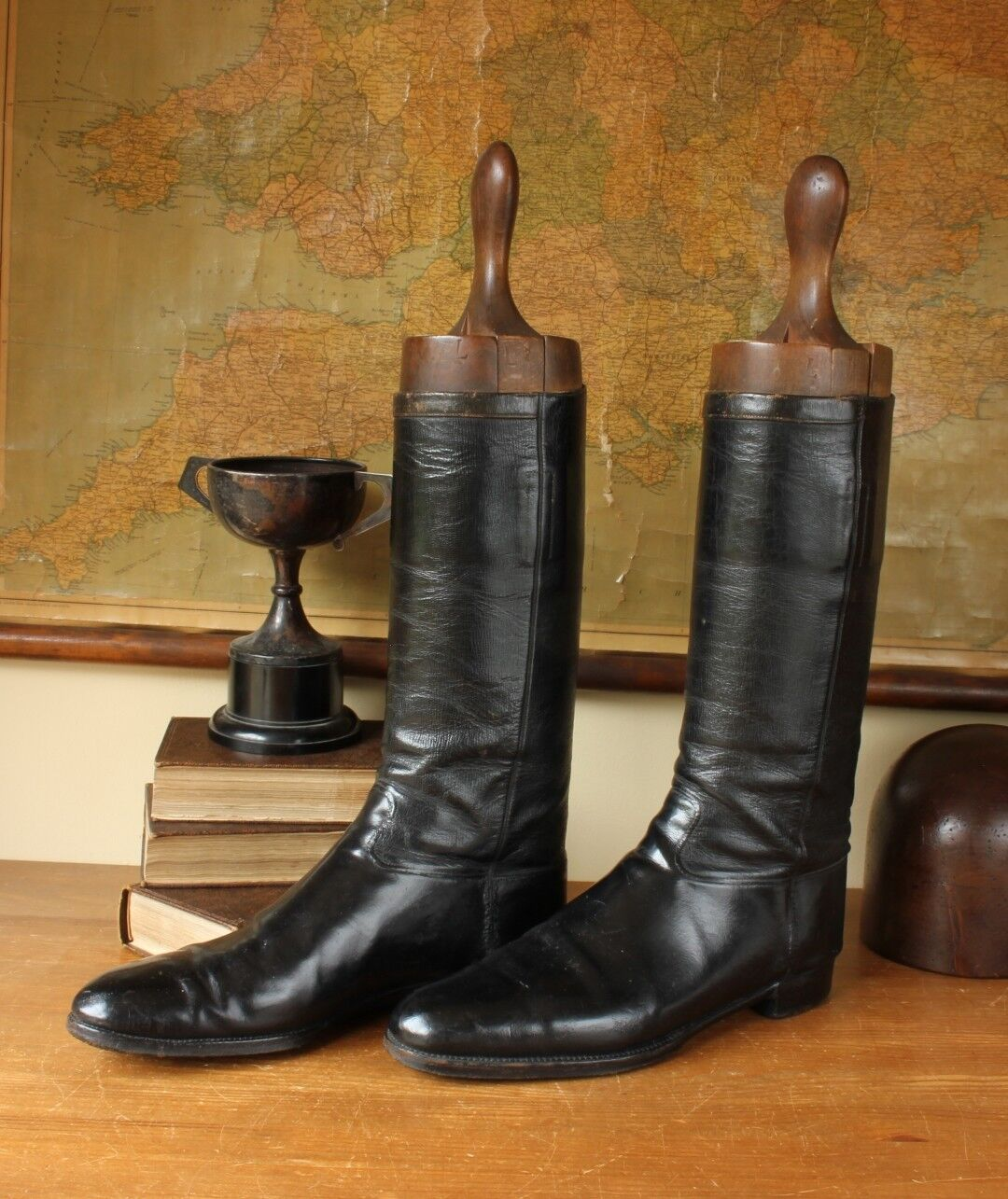 Antique Gents Henry Maxwell Leather Equestrian Riding Boots & Wood Trees Size 12
