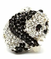 New Crystal Pearl Black White Panda Bear Ring Silver Tone Adjustable Cute Kawaii