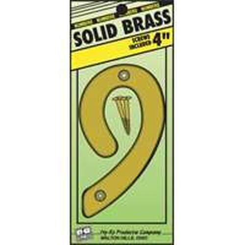 """NEW HY-KO BR90//9 4/"""" SOLID BRASS #9 HOUSE MAILBOX NUMBER"""