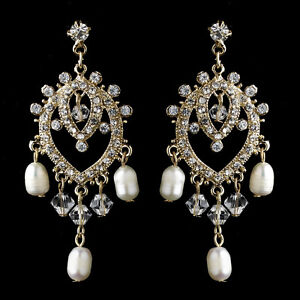 Classic bridal wedding gold pearl chandelier earrings ebay image is loading classic bridal wedding gold pearl chandelier earrings aloadofball Images