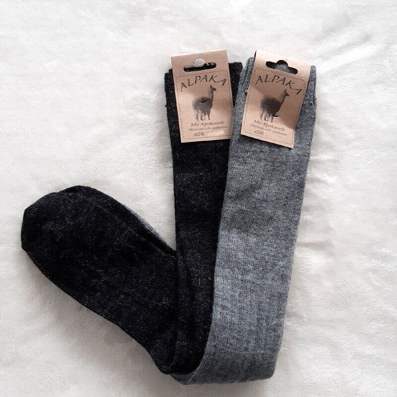 2 Paar Damen Soft Alpaka Kniestrümpfe 65%Schafwolle 35% Alpakawolle Grau 35-42