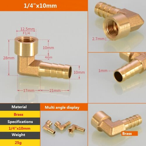 90°Elbow Brass Female Thread Fitting x Barb Hose Tail End Connector For Air Fuel