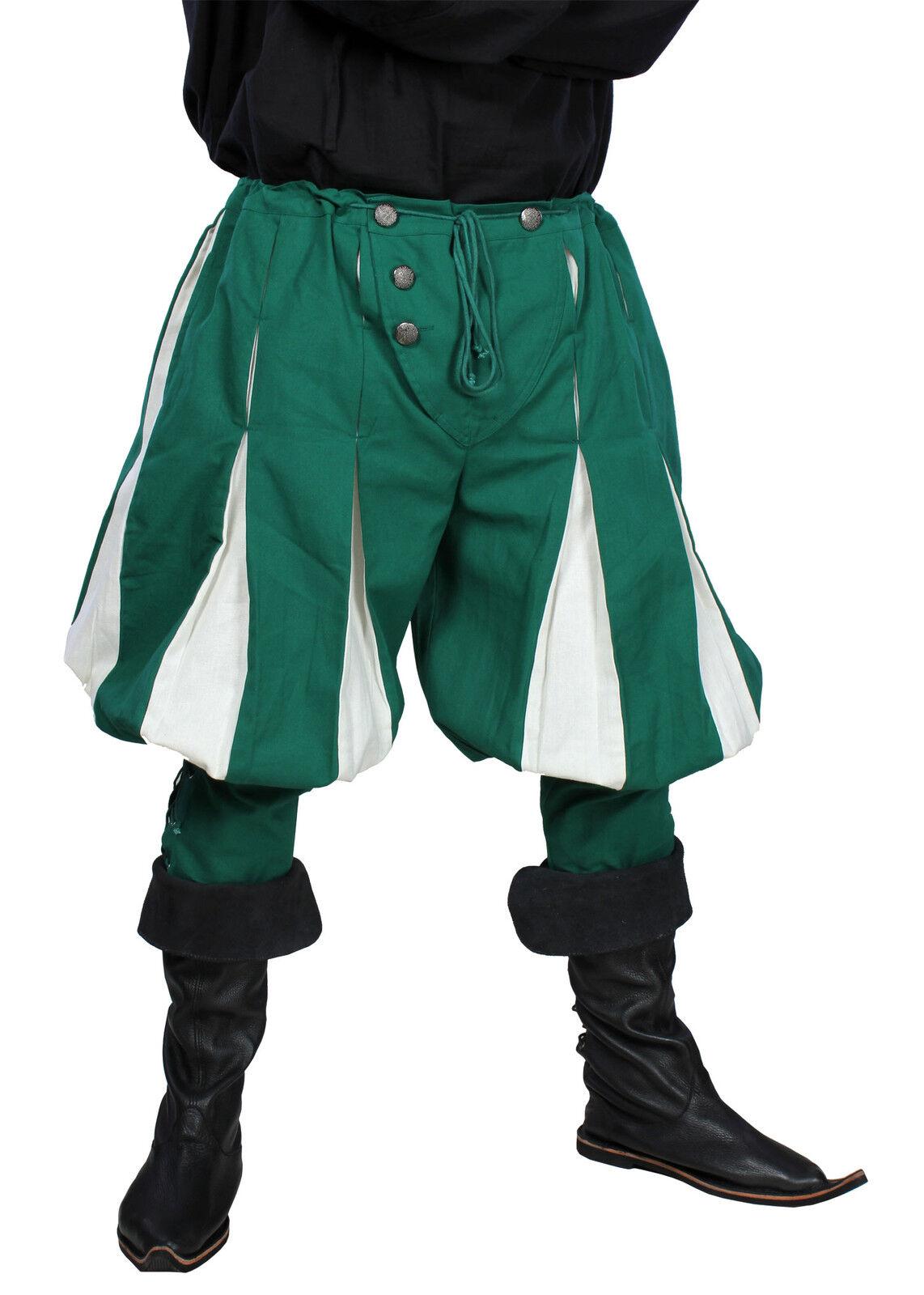 Landsquenet Pants, green/white, Medieval LARP Trousers Costume Garment