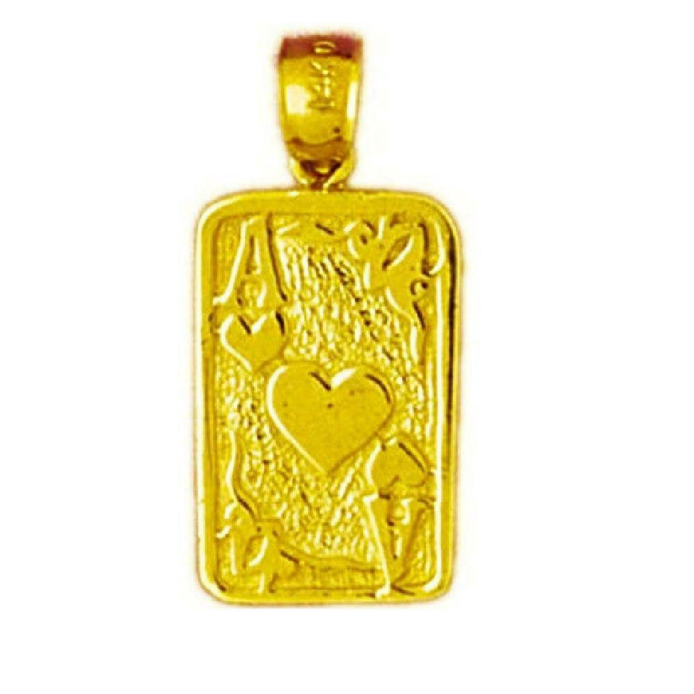 14k Yellow gold Ace of Hearts Playing Card Pendant   Charm, Made in USA