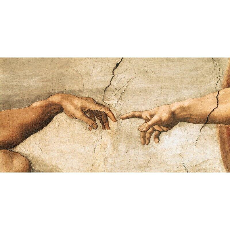 Quadro su Pannello in Legno MDF Michelangelo Buonarroti La creazione di Adamo (d
