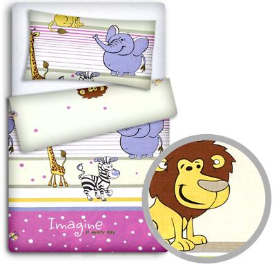 BABY BEDDING SET PILLOWCASE Ladder pink DUVET COVER 2PC TO FIT CRIB 80x70cm