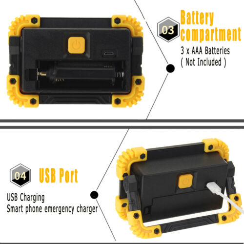 COB LED Work Light USB Rechargeable Floodlight Emergency Square Lamp Stand 5W