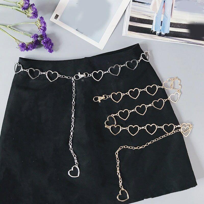 Women Fashion Heart Shaped Metal Waist Chain Metal Belt Waistband Accessories