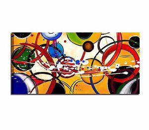Quadri astratti dipinti a mano giallo blu rosso salone for Immagini dipinti astratti