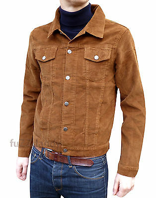 NEW MENS RETRO SLIM MOD Trucker WESTERN JACKET Cord CORDUROY 70S WOBURN MC163