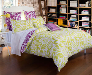KAS-Orion-Green-Purple-Leaf-Queen-King-Quilt-Duvet-Bedding-Euro-Cushion-Set