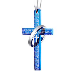 Collar-Cadena-Con-Cruz-Colgante-Anillo-Plata-Hombres-Titanio-Acero-color-azul