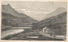 A6098 Ospizio Bernina - Ghiacciaio Cambrena - Veduta - Incisione Antica del 1924