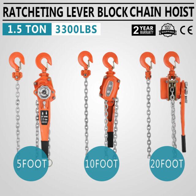Palan mécanique à chaîne à main treuil crochet de levage poulie 0,75 tonne 1,5 m