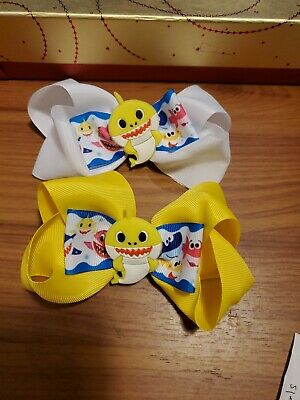 "2 add to basket 1st small 2/"" hair bows BABY SHARK bobble//clip-"
