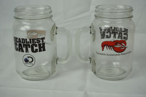 Red Lobster and Deadliest Catch Mason Jar Mug Cocktail Glasses Promo Set of 2