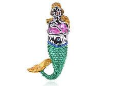 Fat Girl Mermaid Pink Green Enamel Ocean Neon Painted Sea Life Adjustable Ring