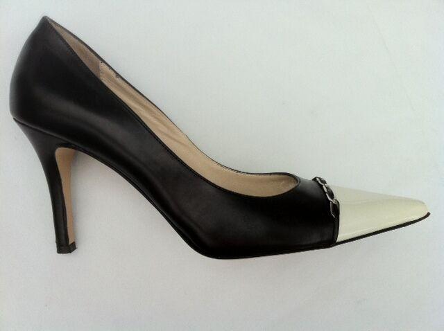 ELEGANCE Pumps, High Heels,  9 cm, schwarz-weiß, Leder,  Gr. 40,  1 x getragen