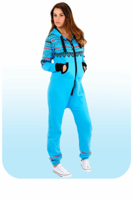 29dd83fcc2f7 Womens Onesie Ladies Jumpsuits Heart Print One Piece Hood Tracksuit ...
