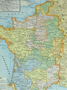 1905 MAP FRANCE OF LOUIS 1270 BRETAGNE NORMANDY CHAMPAGNE ... Champagne France Map on
