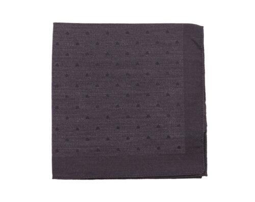 Kiton Gray /& Black Polka Dot Wool Silk Blend Pocket Square Handmade In Italy