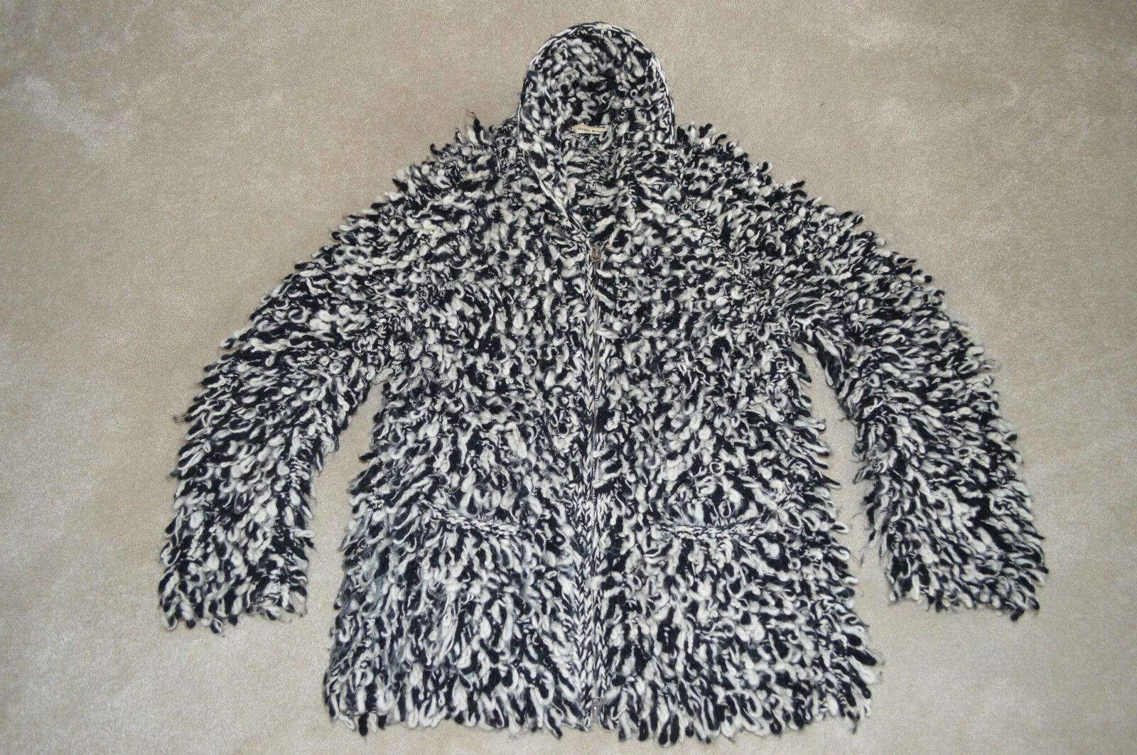 Isabel Marant H&M Negro blancoo Lana Abrigo  Chaqueta con cremallera a través de gran tamaño EU M 10 12  clásico atemporal