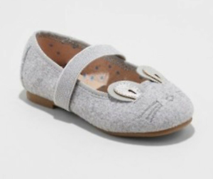 Cat /& Jack Anissa Bunny Face Slip On Ballet Flats With Elastic Strap Gray
