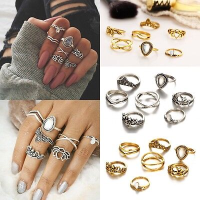 Midi Ring 5pcs Sparkly Ring Set Jewelry Diamond Crystal Mid Index Finger Rings
