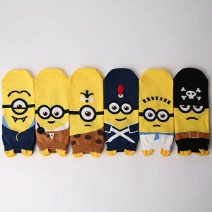 THEME-MINIONS-CARTOON-SOCKS-6-pairs-1-pack-women-girl-cute-MADE-IN-KOREA-socks