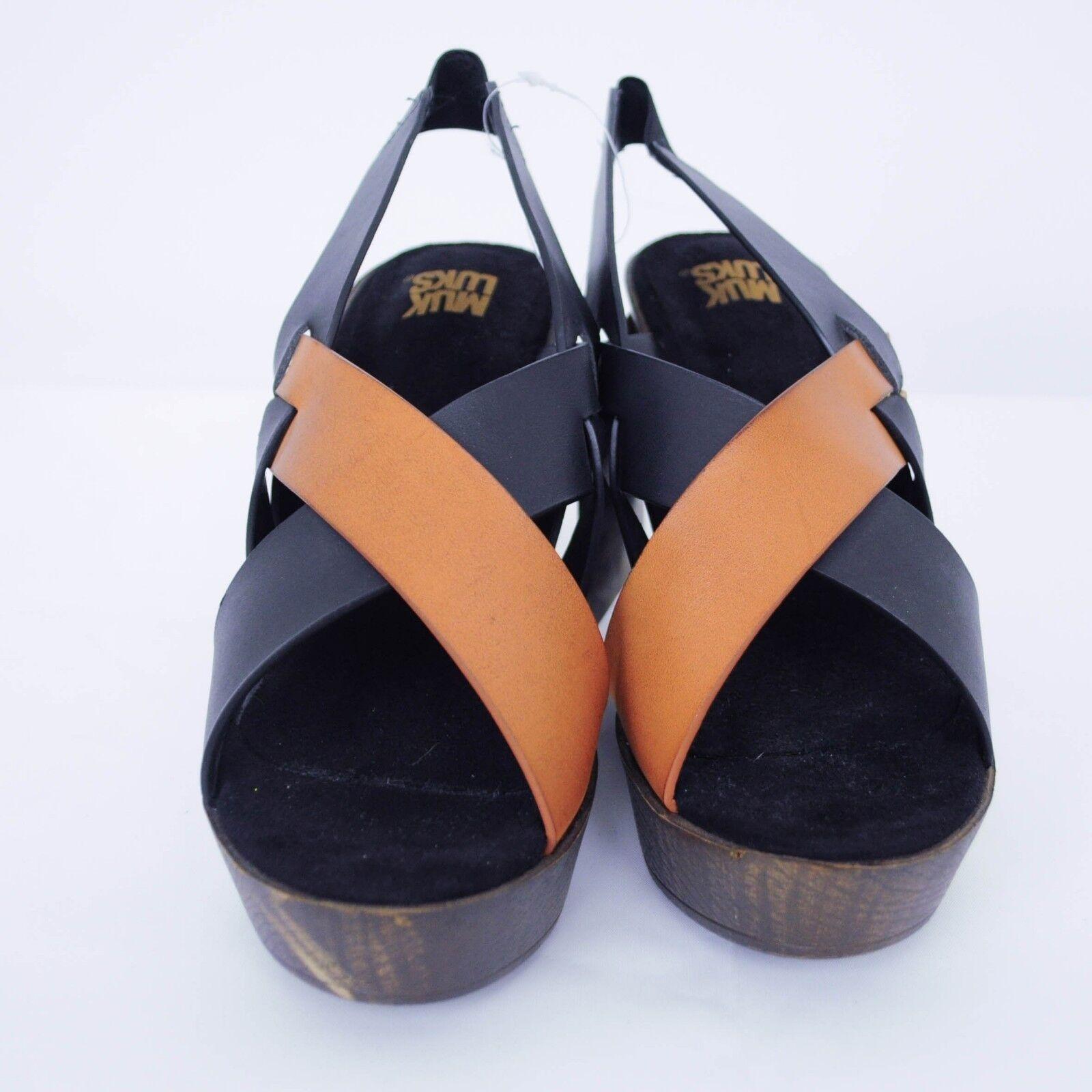 NEW 95 MUK Sandale LUKS Beth Platform Wedge Sandale MUK Damenschuhe Sz 9 Cognac Vegan Leder c322de
