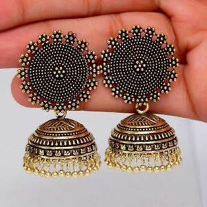 2eef1fb69 Image is loading Indian-Oxidized-Fashion-Jewelry -Gold-Designer-Traditional-Jhumka-